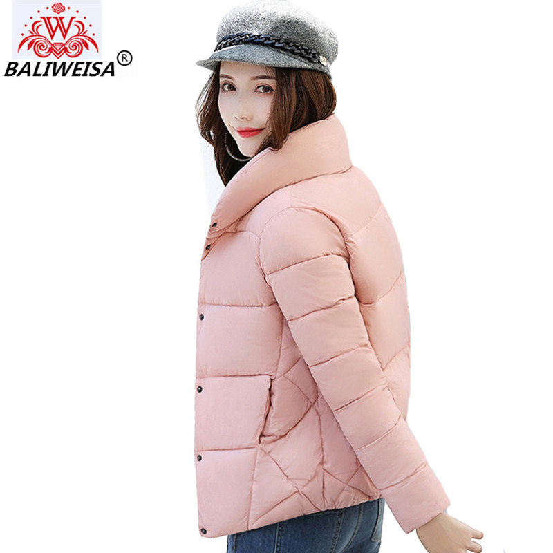 2019 Stand Collar Breasted Buttons Winter   Jacket   Women Women's   Basic     Jackets   Outwear Short Female Coat Casaco Feminino Inverno