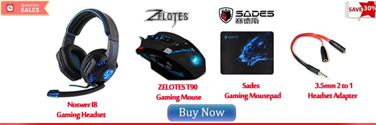 Noswer I8 headset Zelotes T90 mouse sades mousepad