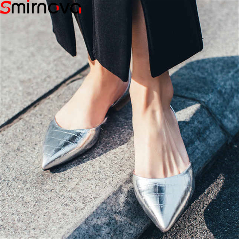 Smirnova big size 34 43 fashion summer new shoes woman pointed toe shallow genuine leather shoes