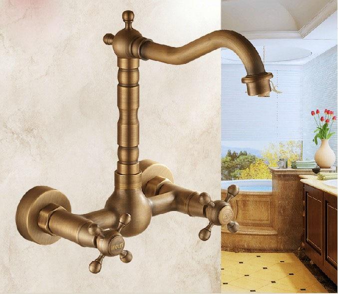 Antique Brass Wall Mount Bathroom Kithcen Sink Faucet Swivel Spout Mixer Tap