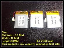 Bateria de Polímero 303040 033040 450 Mah 3.7 V de Lítio Mp3 Mp4 Mp5 Taipower X30