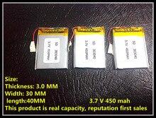 303040 033040 450 mah 3.7 V batería de polímero de litio MP3 MP4 MP5 Taipower X30