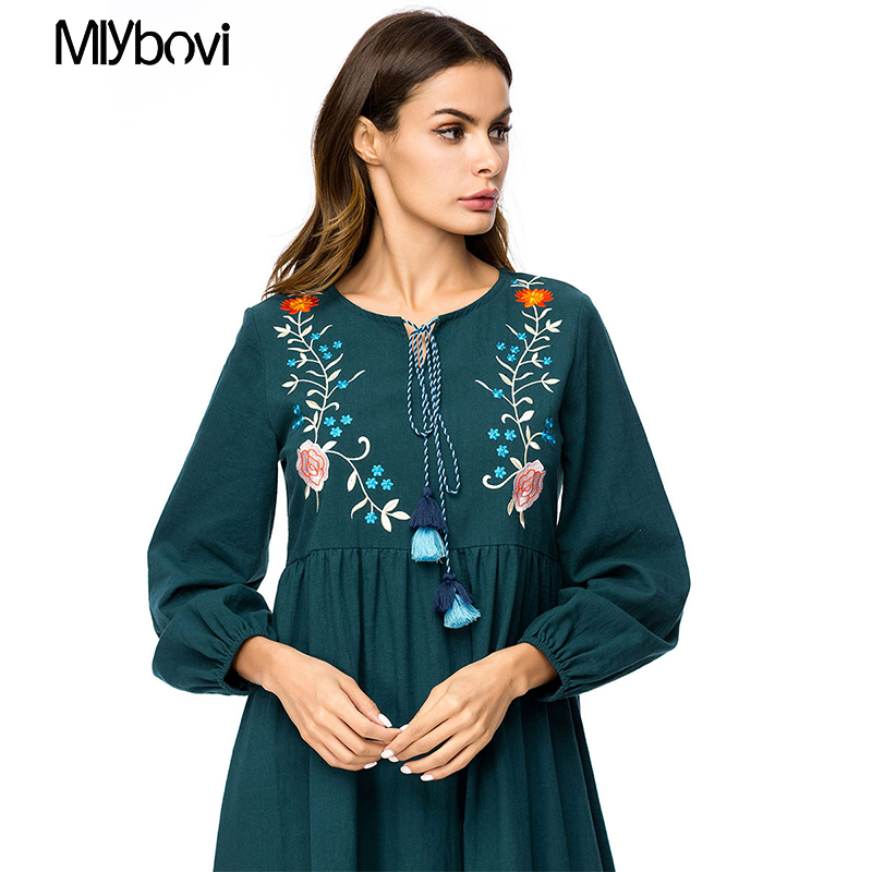 22766fab16181 Casual Maxi Dress Green Embroidered 4XL Long Sleeve Moroccan Kafta...