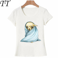 New fashion Chihuahua Wrapped in a Blanket print t-shirt Women T-Shirt Cute Dog design casual Tees Summer Hipster cool Tops