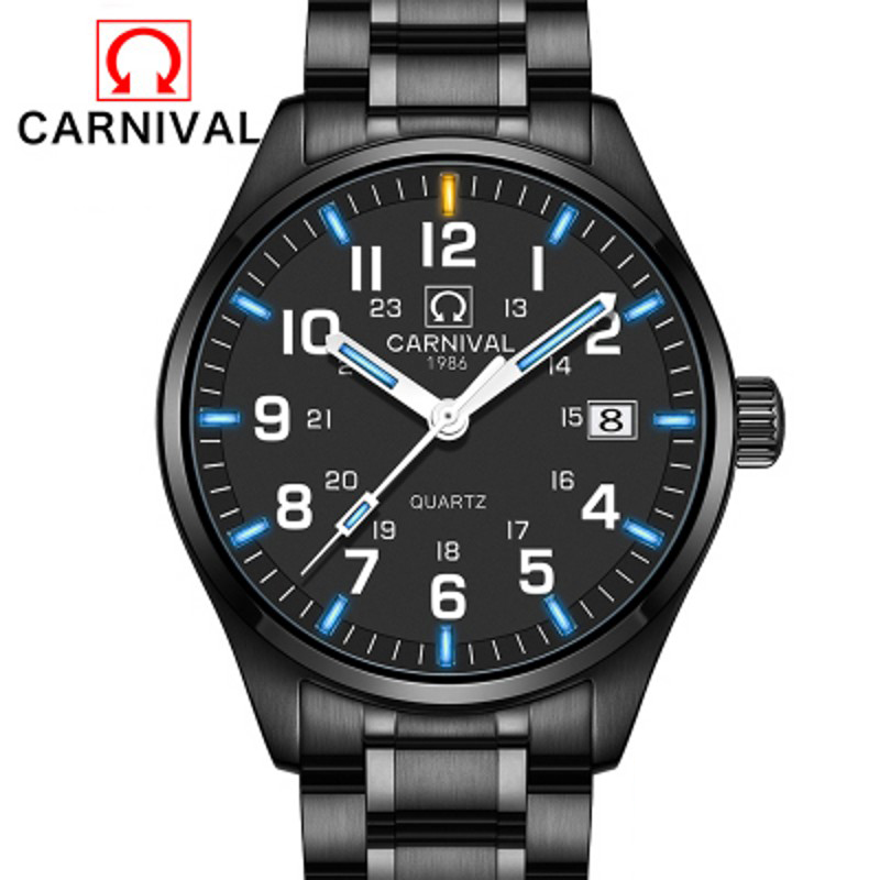 Carnival Fashion Classic Quartz Watch Men Blue Green Tritium Light Cool Business Watches Stainless Steel Waterproof Clock