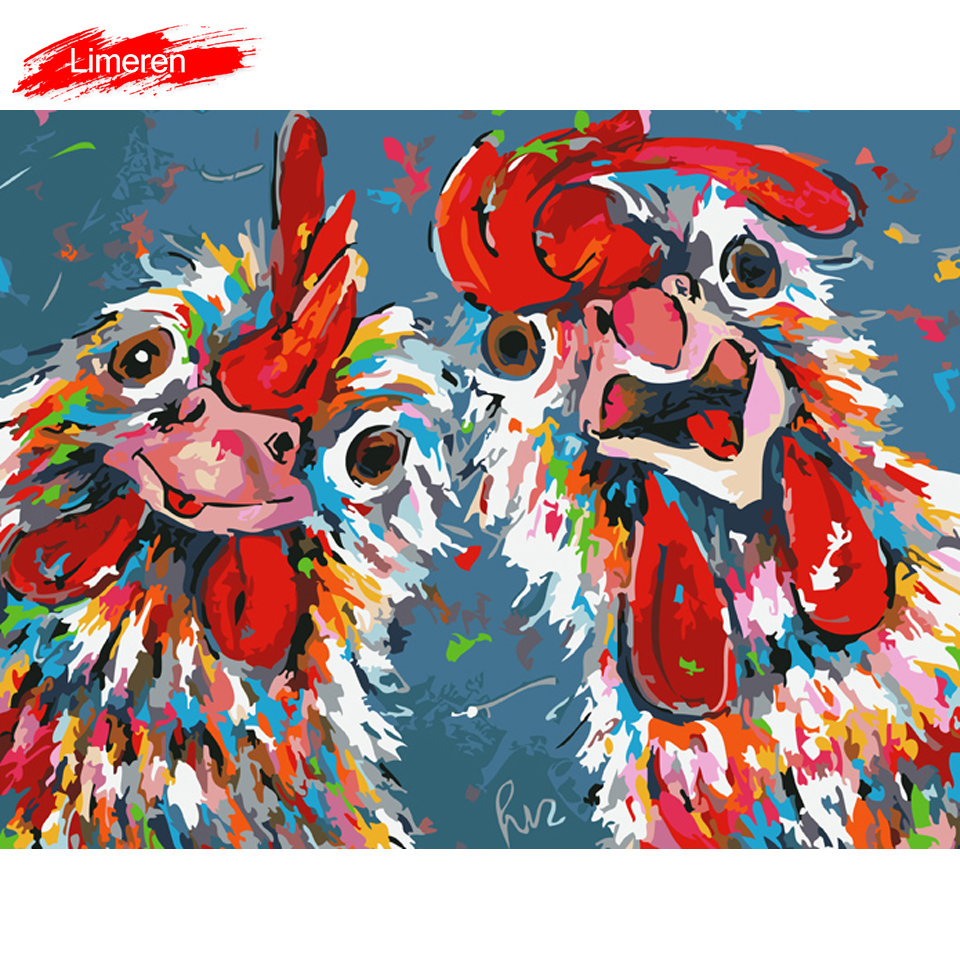 Us 869 45 Offvrolijk Schilderij Wall Art Canvas Painting By Numbers Abstract Animal Picture Home Decor Crazy Chickens No Frame In Painting