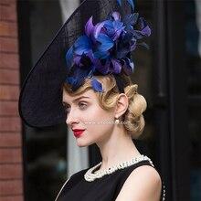 Hipódromo de kentucky derby sombreros para la fiesta del té vestidos blanco negro mujeres sombreros de la iglesia grande elegante sombrero fedora sombrero chapeau femme
