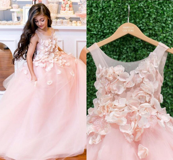 2019 Blush Pink   Flower     Girl     Dresses   Hand Made   Flowers   Sheer Neck Child Birthday Party Little   Girl   Pageant   Dresses   Communion