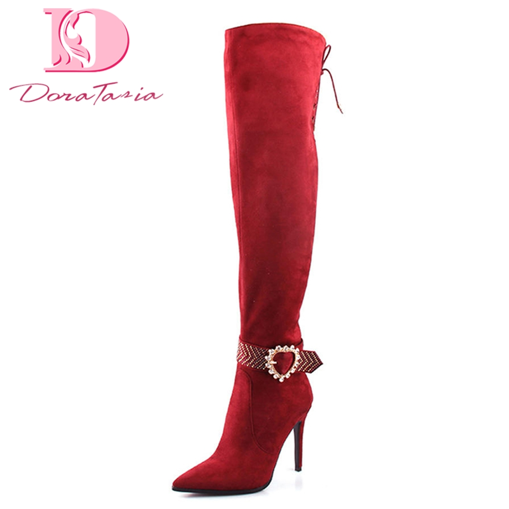 DoraTasia 2018 Luxury Brand Design Party Woman Boots Thin High Heels Pointed Toe Knee-High Boots Women Shoes Woman Size 36-41DoraTasia 2018 Luxury Brand Design Party Woman Boots Thin High Heels Pointed Toe Knee-High Boots Women Shoes Woman Size 36-41
