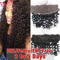7A Virgem Cabelo Profunda Curly Lace Frontal 13X4 Cabelo Encaracolado Profunda Brasileira Fechamento de Renda Frontal Com Branqueada Knots Bebê FreeShipping cabelo