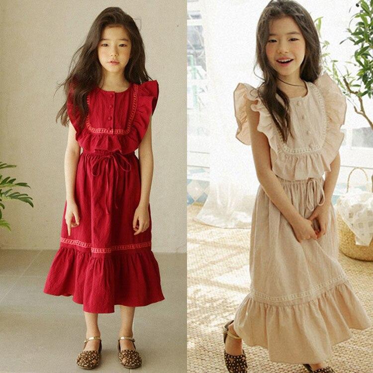 Ruffles Cotton Maxi Teenage Long Dress Princess Girl 2019 Toddler Kids Dresses For Girls Summer Petal Sleeve Red Khaki Clothing girl