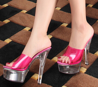 Plus 34 44 CD 2015 Slip Resistant High Heeled Sexy 15cm Transparent Thin Heels Neon Women