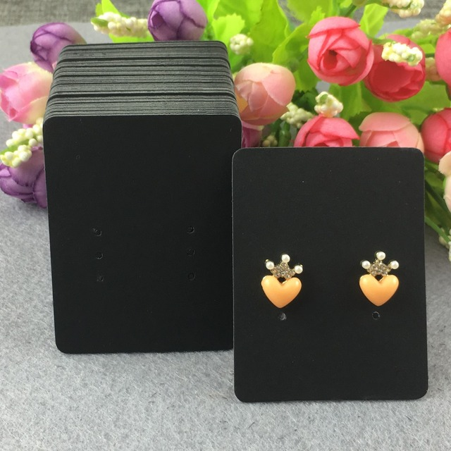 200pcs 6 5x5cm Black Jewelry Cards Blank Earring Clic Displays Accept Custom Logo
