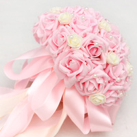 Pink Roses Bouquet Wedding Hand Simulation Bride Holds A Bouquet of Flowers and Beads To Send A Corsage Wrist Flowers