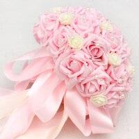Rosa Rosas Buquê de Casamento Mão Simulação Noiva Tem Um Buquê de Flores e Miçangas Para Enviar Um Buquê de Flores De Pulso