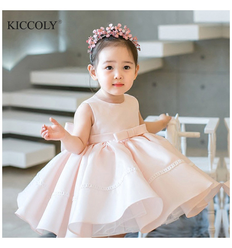 709e21211 Bow 1 Year Birthday Baby Girl Dresses For Baptism Layered Lace Infant  Princess Christening Gown Newborn Girls Party Clothes