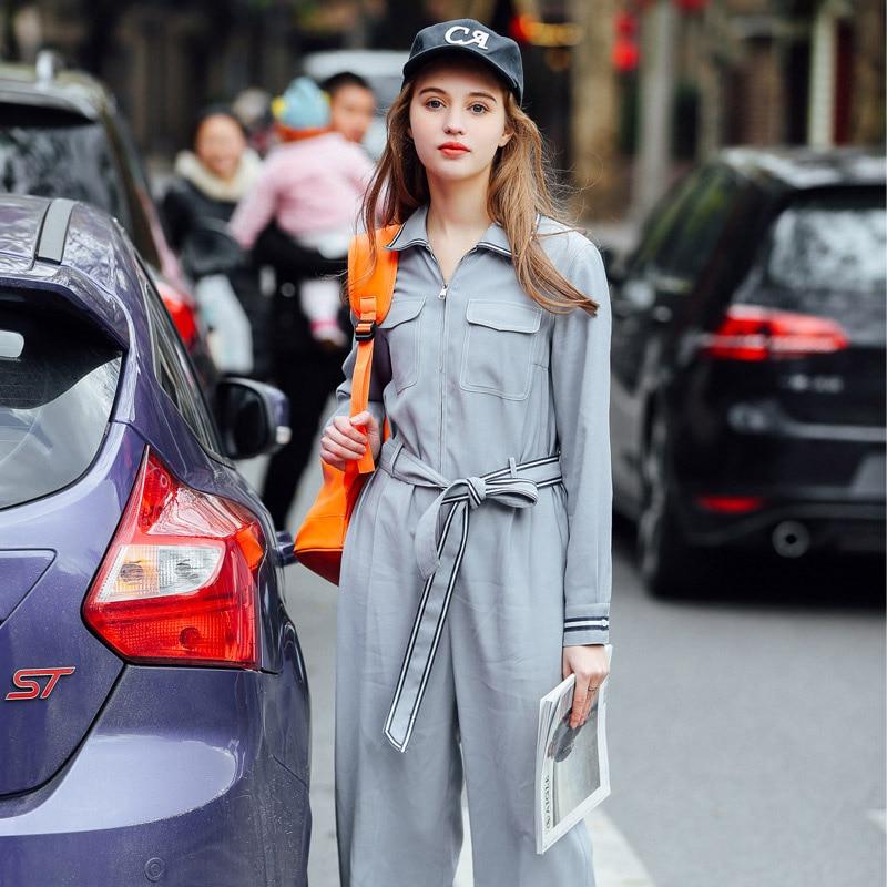 Nouvelle Avec Eté Blue Clair 2018 Ceinture Light Femmes Taille Top Haute Qualité Casual Salopette Bleu Printemps Mode Barboteuses qxv4HxFS