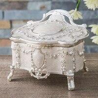 Caixa de joias da princesa real europeia da rússia  criativa  caixa de joias  alto prata  branco  acessórios de metal  receber um estojo