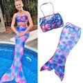Niñas Niños Cola de Sirena Monofin Nadar Bikini Set traje de Baño traje de Baño de La Sirena Traje de Cola Para los Niños 3-8Y 2017