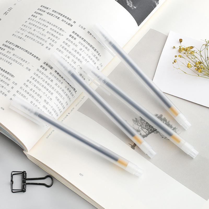 4pcs/set MUJI Style Transparent Minimalist Neutral Pen Gel Pen Set Stationery Gel Pen
