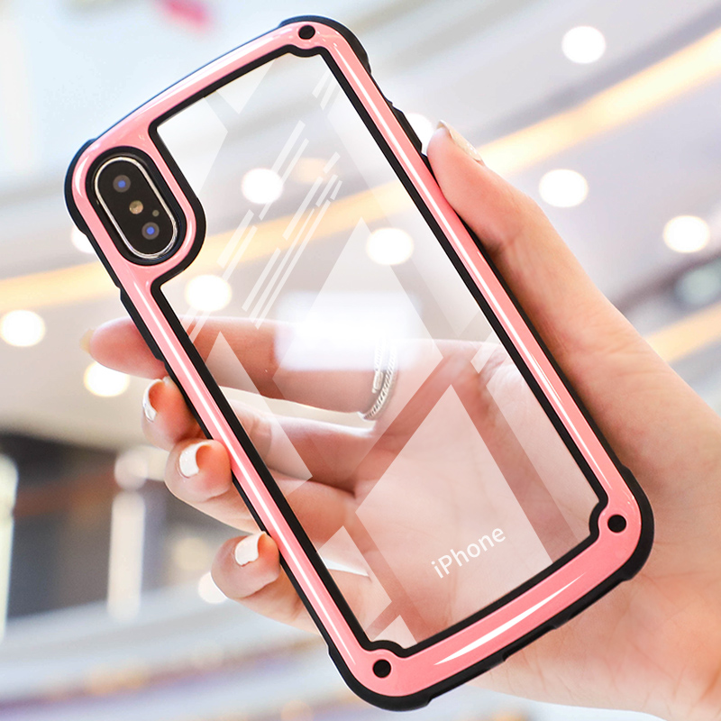 Fashion Shockproof Armor Case For iPhone XS Max 8 7 Plus Transparent Cover For iPhone 6 6S Plus X XS XR Silicone Case Fundas