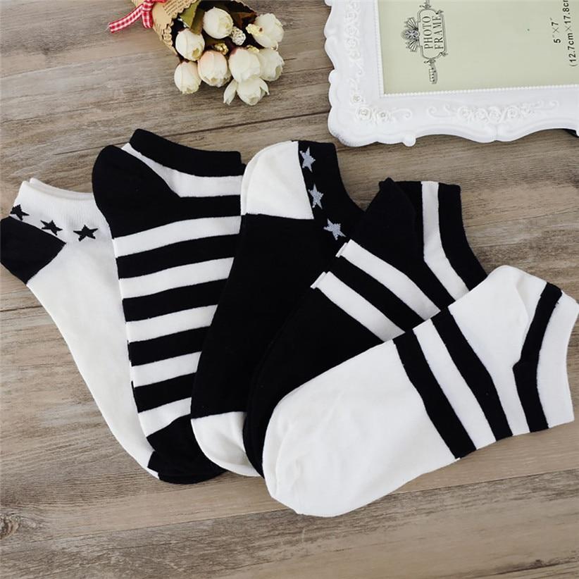 Chamsgend   Socks   5Pairs/lot Unisex Women Men Comfortable Black White Striped Cotton   Sock   Short Ankle   Socks   80125