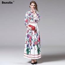 Banulin 2019 New Summer Runway Designer Maxi Dress Womens Long Sleeve Gorgeous Floral Print A-Line Casual Holiday