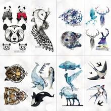 Panda Tiger Wolf Animals Pattern Temporary Tattoo Stickers Waterproof Women Fake Hand Animal Tattoos Men Body Art