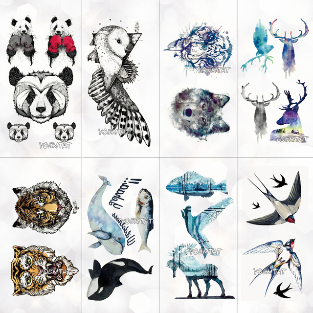 f25e53579 Panda Tiger Wolf Animals Pattern Temporary Tattoo Stickers Waterproof Women  Fake Hand Animal Tattoos Men Body Art