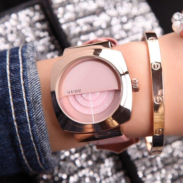 Новая дамская мода Лидирующий бренд часы аналоговые кварцевые женщина платье наручные часы Часы простой из натуральной кожи Половина Обложка Повседневное Часы