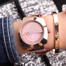 New Ladies Fashion Top Brand Clock Analog Quartz Woman Dress Wrist Watch Clocks Simple Genuine leather Half Cover Casual Watches