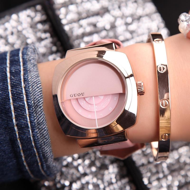 Nouveau Dames De Mode Top Marque Horloge Analogique Quartz Femme Robe Montre-Bracelet Horloges Simple en cuir Véritable Demi de Couverture Casual Montres
