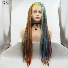 Sylvia красочные волосы ручной работы плетеный ящик косы парик красный оранжевый желтый зеленый синий фиолетовый синтетический парик на кружеве