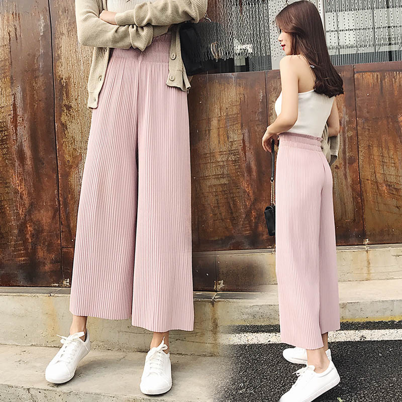 Women Ankle-Length Pants Trousers 2017 Fashion Chiffon Pants Loose Casual Style Solid Color High Waist Pants Wide Leg Pants