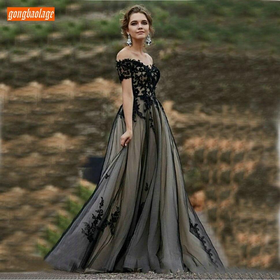 Élégant Boho noir plage robes de soirée longue Tulle dentelle Appliques à manches courtes fête robes de soirée fermeture éclair Slim Fit robe formelle