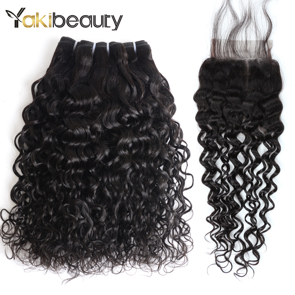 Water Wave Bundles With Closure 3 Bundles Remy Human Hair Weave Free Part Lace 4Pcs Peruvian Hair Bundle With Closure Yakibeauty