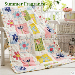 100%Cotton Cartoon Floral Adult Summer Quilt Blanket Plus Size 220*240cm Printed Textile Bedspreads Bedding Sets Freeshipping