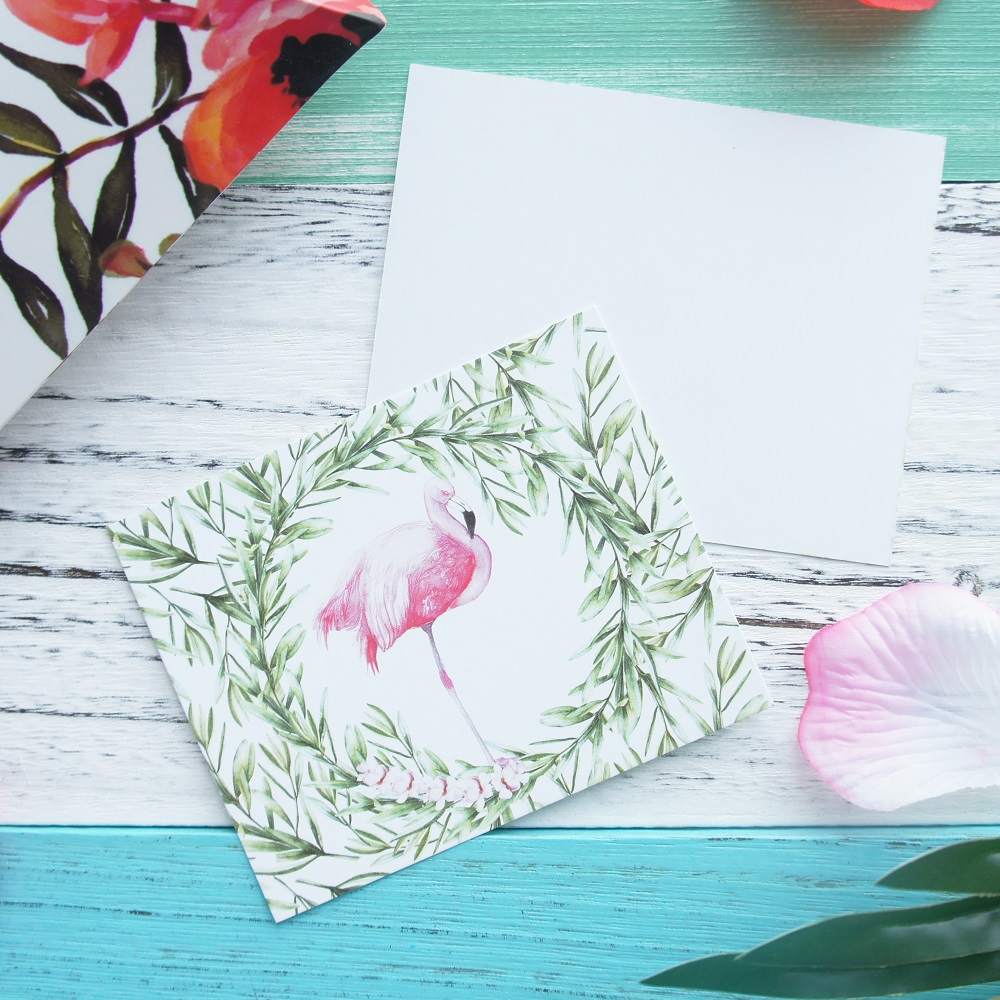 multi use 50pcs Mini white Card flamingo tropical plant style ...