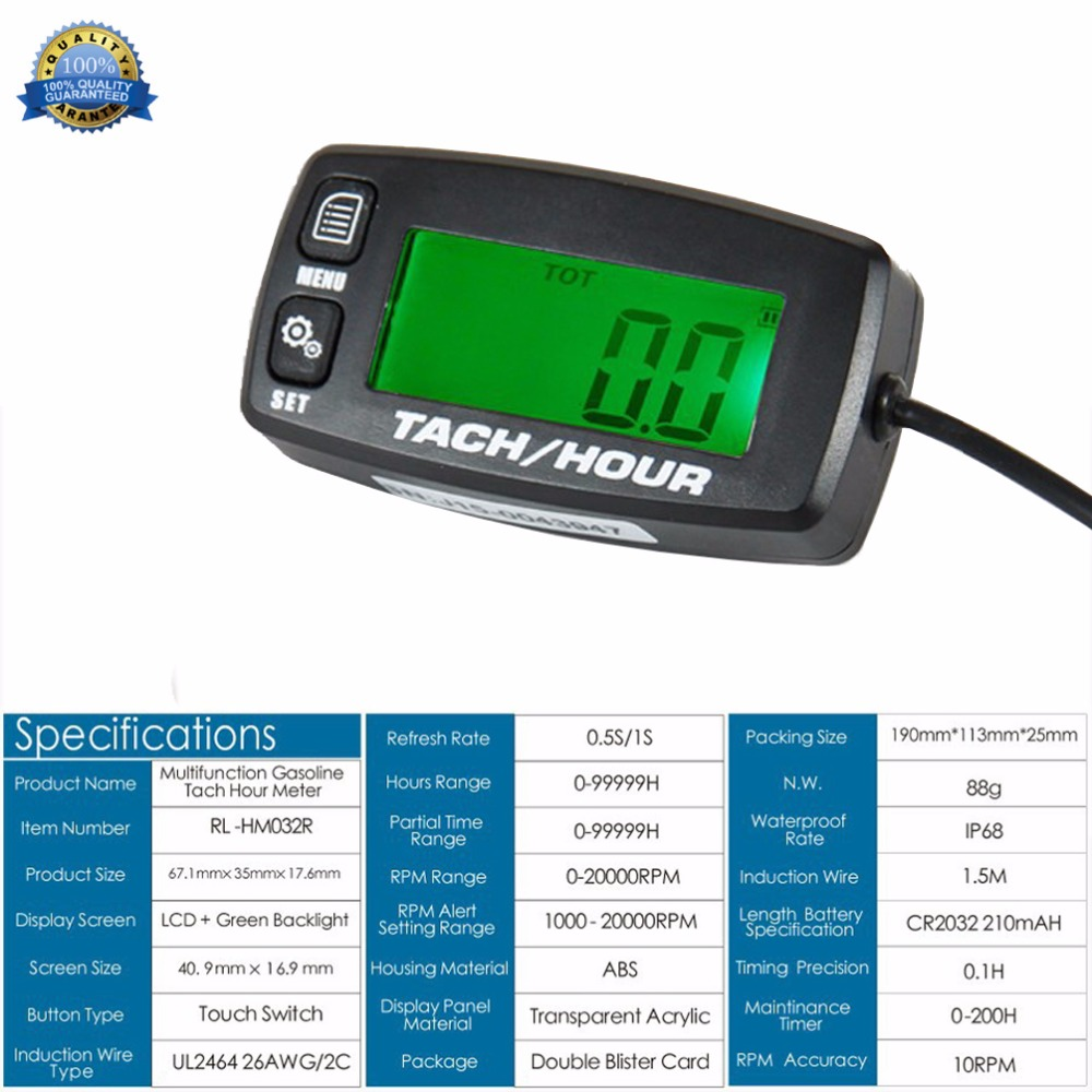 Tachometer Gauge Backlit Engine Hour Meter Resettable for Motorcycle Marine Glider ATV Snow Blower Lawn Mower Jet Ski Pit Bike