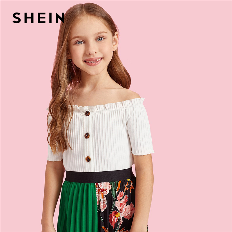 SHEIN Kiddie White Button Front Frill Ribbed Knit Elegant T-Shirts Girls Tops 2019 Summer Short Sleeve Crop Kids Casual Tees off shoulder ribbed knit dress burgundy