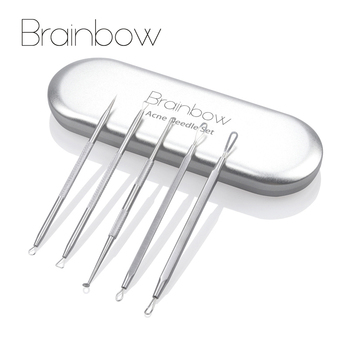 Brainbow 5piece/Box Acne Removal Needle Face Pore Spot Cleaner Skin Care Tools Blackhead&Blemish Pimples Removers Acne Treatment