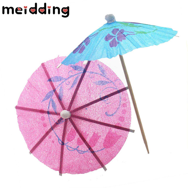 Meidding 50pcs Diy Paper Umbrella Cake Topper Picks Tail Parasols Drinks Decor Kids Birthday Wedding Party