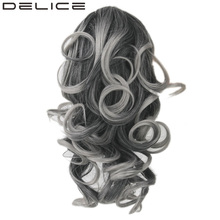 DELICE 140g Clip In Short Curly Claw Ponytail High Temperature Fiber Synthetic Hair Gray Blonde Color