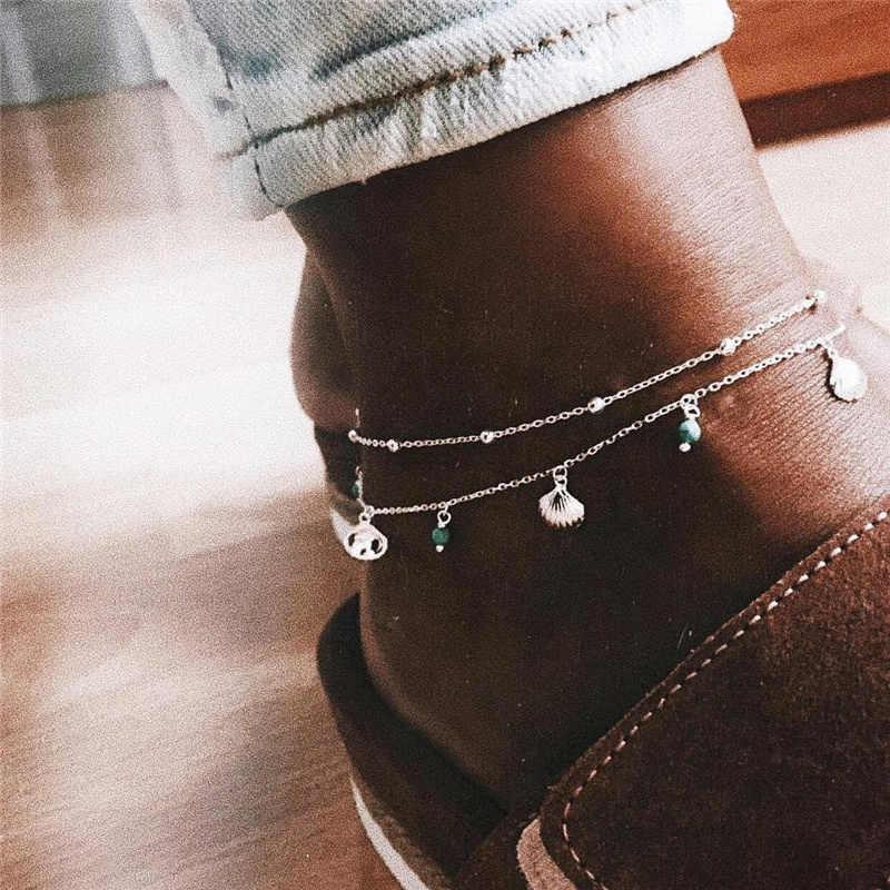 BOHO w stylu Vintage czeski srebrne obrączki bransoletka dla kobiet wielowarstwowe elegancki minimalistyczny powłoki przegrzebek wzór zroszony kobiety łańcuszek na kostkę
