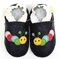 Zapatos de bebé recién nacido primer caminante de bebé de cuero azul oscuro bebés deslizador de los zapatos del niño embroma los zapatos antideslizantes 0-4y