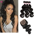 Top quality Peruvian Body Wave With Closure Derun Hair  3 Bundles With Closure Body Wave Peerless Virgin Hair With Closure