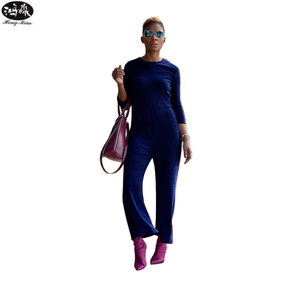 HongMiao2018 summer Women Knitting Designer Jumpsuit Long Sleeve Boot Cut Pant Jumpsuits Outfits Rompers Casual Clothing