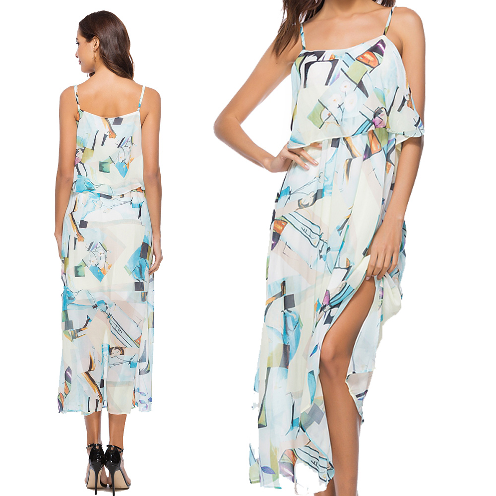 92ab13771ee 2018 Dresses with New Print Chiffon Beach Holiday Lady Office Dress Plus  Size Designed New Fashion Women Anniversary Dresses