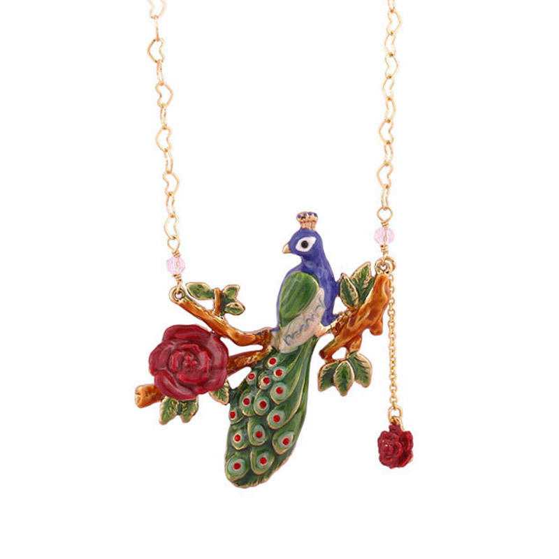Luxury Statement peacock flowers choker necklace for women enamel glaze bird red flower fashion party jewelry unique mermaid with shell pendant necklace for women enamel glaze fashion choker necklaces lady party jewelry