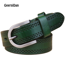 GEERSIDAN Genuine Leather belt for women Casual all-match 100% cowskin pin buckle Fashion decoration thin youth strap